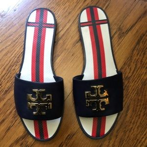 Tory Burch slides with navy leather
